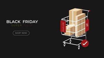 zwarte vrijdag verkoop tag opknoping speciale aanbieding met supermarktkar vector