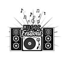 radio en luidsprekers voor het ontwerpen van muziekfestivals vector