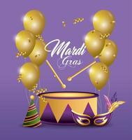 trommel en ballonnen voor de viering van mardi gras