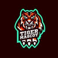 tijger mascotte met hand vector