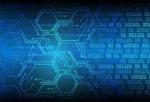 blauwe zeshoek cyber circuit toekomstige technische achtergrond vector