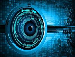 blauw oog cyber circuit toekomstig technologieconcept