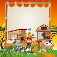 sjabloon voor spandoek met cartoon boerderij thema vector