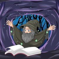 cartoon oude tovenaar met spreukenboek
