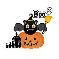 pompoen en vleermuis voor halloween-ontwerp vector