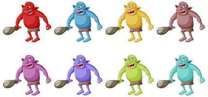 set van kleurrijke boze goblins