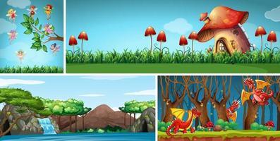 vier verschillende scènes van een fantasiewereld met fantasieplaatsen