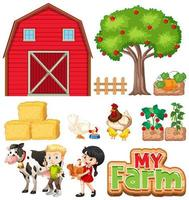 set boerderijdieren en schuur