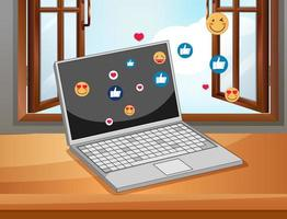 notebook met social media iconen