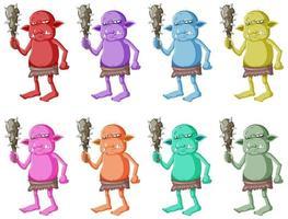 set van kleurrijke goblins vector