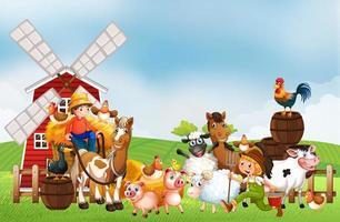 boerderij in natuurtafereel met windmolen vector