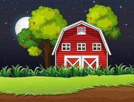 boerderijscène met schuur en appelboom 's nachts
