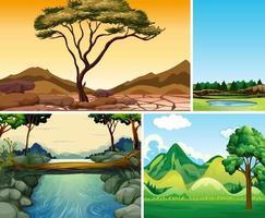 vier verschillende natuurscènes van bos en rivier