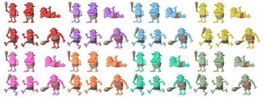 set van kleurrijke goblin of trol in verschillende poses