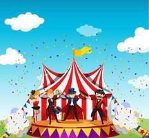 circus met carnaval-themascène