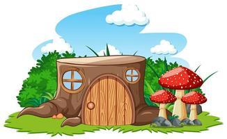 boomstronkhuis met champignon vector