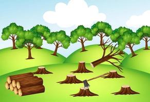 bergen met omgehakte bomen