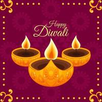 paars gouden diwali illustratie