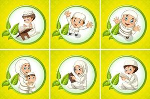 Arabische moslimmensen geïsoleerd op gele achtergrond