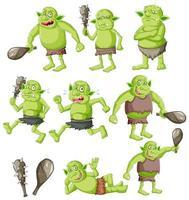 set van goblin of trol met jachtgereedschap