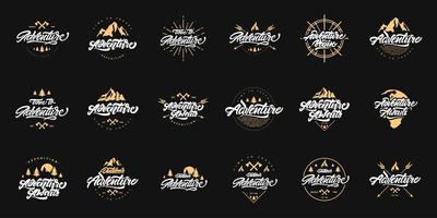 groot avontuur belettering logo set vector