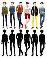 set van mannelijke karakter met silhouetten
