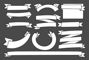 Handgetekende witte lege banners set vector