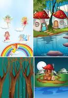 vier verschillende scènes van de fantasiewereld