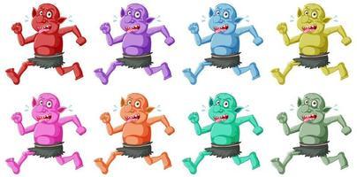 set van kleurrijke goblin of trol running pose met grappig gezicht in stripfiguur geïsoleerd