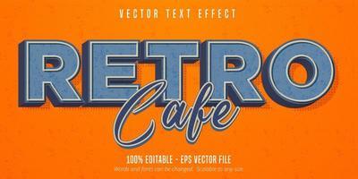 retro cafétekst, vintage stijl bewerkbaar teksteffect vector