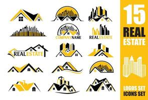 logo en pictogram instellen voor onroerend goed bedrijf vector
