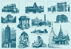 Blauwe India Illustraties