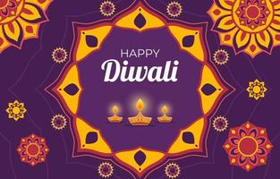 diwali-achtergrond met diya en rangoli-ornament