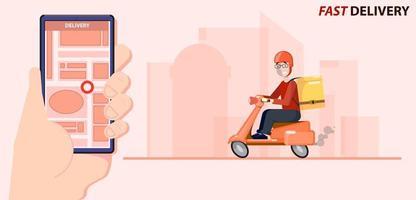 snelle levering op scooterlocatie op telefoon vector