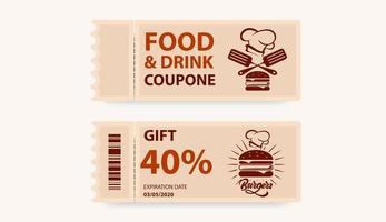 coupon voor eten, drinken vector