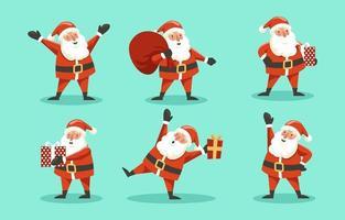 vrolijke kerstman die cadeautjes levert