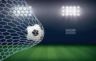 voetbal of voetbal in het doel in het stadion 's nachts vector