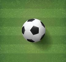 voetbal of voetbal op gestreept voetbalveld vector