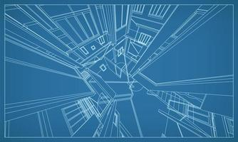 3d perspectief geeft van het bouwen van draadframe terug vector