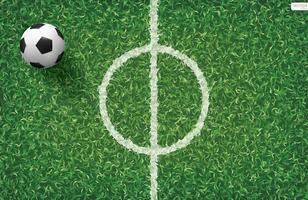 voetbal of voetbal op veld buiten de middellijn vector