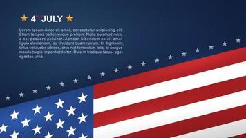 4 juli achtergrond met schuine Amerikaanse vlag op blauw vector