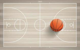 bovenaanzicht van grote basketbal in basketbalveld
