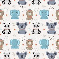 naadloze patroon met wilde babydieren vector