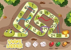 slangen en ladders spel met groene slang vector