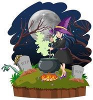 heks met zwarte magische pot cartoon