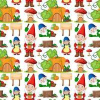 gnome en pompoen huis naadloze patroon in cartoon stijl