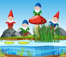 kabouters groep staande naast moeras in cartoon-stijl vector