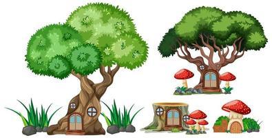 set van geïsoleerde boom- en stronkhuizen vector