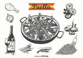 Gratis Paella Getrokken Vectorillustratie vector