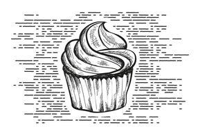 Vrije Hand Getrokken Cupcake Achtergrond